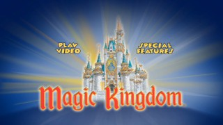 The main menu sports the gold-trimmed Cinderella's Castle.