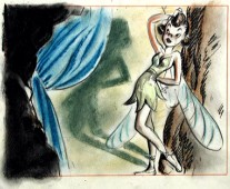 Tinker Bell is seen as a brunette in this piece of concept artwork, found in the Platinum Edition DVD's extensive Disc 2 galleries.