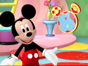 Mickey Mouse smiles at the sight of Toodles, the series' most prominent (and didactic) original character.