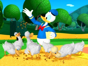 Donald feeds eight of his fellow ducks who aren't fortunate enough to use dining ware, dress like sailors, or speak English.