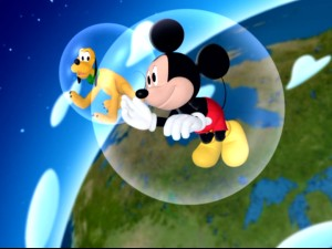 Mickey and Pluto learn that floating around in bubble bath bubbles can truly be an out of this world experience.