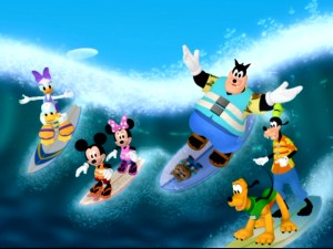 "Having sorted plastics from papers, patched their beach umbrella, and found a shady spot in the sand, the Mickey Mouse Clubhouse gang can now enjoy the surfing part of ""Pete's Beach Blanket Luau."""