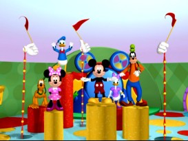 "From left to right: Pluto, Minnie, Donald, Mickey, Daisy, and Goofy rehearse ""The Mickey Mouse Club March"", the song they hope to perform on the Clarabelle TV show in ""Donald's Hiccups."""