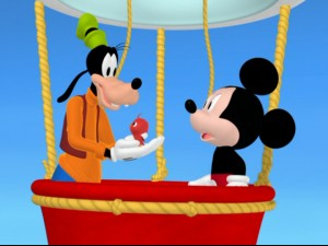 Look out, Phileas Fogg. Goofy and Mickey ride a hot air balloon to return this baby redbird to his mama.