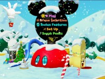 The animated main menu finds the Mickey Mouse Clubhouse all decked out for the holidays. Can you spot Mickey, Donald, and Goofy?