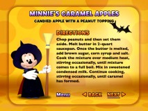 Minnie's Caramel Apples is one of five recipes in the Spooky Clubhouse Cookbook presented as DVD text screens and printable pages via the DVD-ROM's Flash-driven HTML file.
