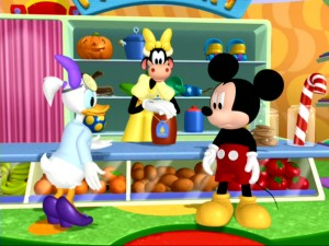 Daisy and Mickey pay a visit to Clarabelle Cow's Moo Mart in search of some jumping beans.