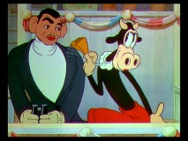 "They should be watching the game, but Clarabelle Cow instead makes a move on Clark Gable in ""Mickey's Polo Team."""