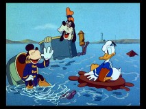 "Mickey, Donald and Goofy get that sinking feeling in ""Boat Builders."""