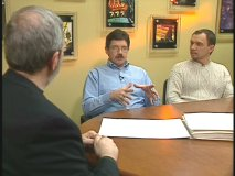 "Leonard Maltin with animators Mark Henn and Andreas Deja in ""Mickey's Cartoon Comeback"""
