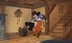 Mickey as Bob Cratchit, with Tiny Tim
