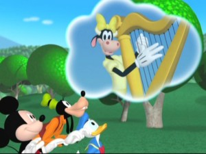 Clarabelle Cow croons to Mickey, Donald, and Goofy where to find the harp that can awakening Minnie from her slumber. Apparently the reliable true love's kiss is too racy for preschool programming.