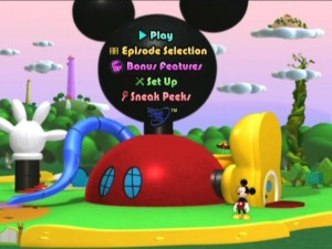 The main menu features the same design as other Mickey Mouse Clubhouse DVDs, but is customized with Daisy's tower and a beanstalk from an episode not found on this disc.