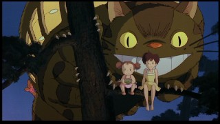 The Catbus, Mei, and Satsuki look over things contently in their final appearance aside from the end credits.