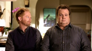 The clashing tones of partners Mitchell (Jesse Tyler Ferguson) and Cameron (Eric Stonestreet) is a regular feature of their interviews.