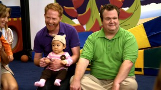 Mitchell (Jesse Tyler Ferguson) and Cameron (Eric Stonestreet) try not to stand out at Lily's day care center.