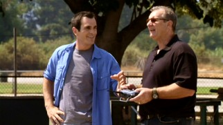 Phil (Ty Burrell) gets to look but not touch as his father-in-law Jay (Ed O'Neill) enjoys one of his favorite pastimes: flying a model airplane.