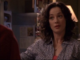 "Moira Kelly relaxes at Karen's Caf� in the ""One Tree Hill"" pilot. Kelly was pregnant at the time but her character wasn't, meaning close-up shots like this were frequently employed during the first season."