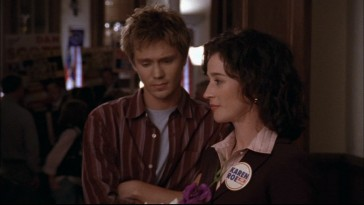 "As ""One Tree Hill""'s central adult character, Karen Roe balances romance and motherhood, seen here with her son, Lucas Scott (Chad Michael Murray)."
