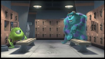 Mike and Sulley converse in the locker room, seen here in the original widescreen aspect ratio.