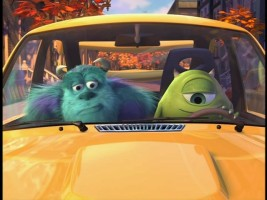 "Mike shows off his hot new ride to Sulley in the all-new short created for the DVD: ""Mike's New Car"""