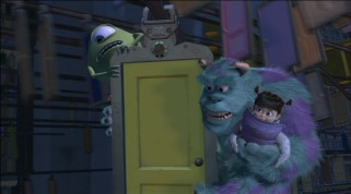 In one of Pixar's most visually appealing scenes, Sulley, Mike, and Boo catch a ride on Monsters, Inc.'s door track.