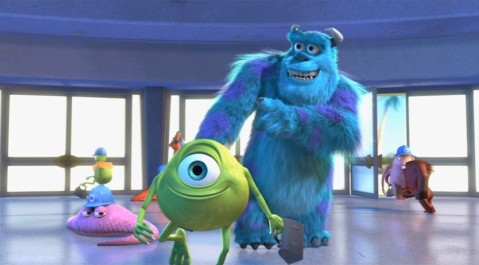 "Mike Wazowski and James P. ""Sulley"" Sullivan roll into Monsters, Incorporated for another day on the job."