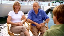 "Producers and spouses Leslie DeMeuse-Disney and Roy Edward Disney get interviewed by well-meaning manchild Jason Earles in ""Stories from the Sea."""