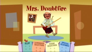 "A mixed-medium Mrs. Doubtfire rocks out not to Aerosmith, but Robin Williams' ""Marriage of Figaro"" on Disc 1's inspired main menu."