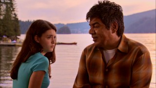 Let's set aside the silliness and slime for a father-daughter (George Lopez, Daniela Bobadilla) heart-to-heart moment by the water.