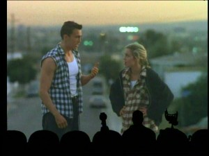 "The martial alien (Daniel Bernhardt) and the tough hooker-turned-nun (Travis Brooks Stewart) display '90s fashion (plaid, layers) while having a magic hour chat in the oddly appealing ""Future War."""