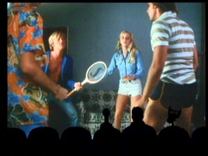 "Anyone for tennis? You don't even need the witty MST3K writers to be laughing when this hilarious fight breaks out in ""Laserblast."""