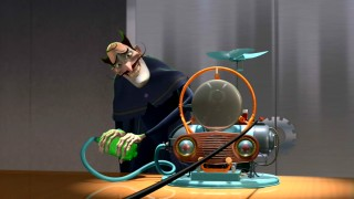 The movie's villain, Bowler Hat Guy, tries to take credit for the Memory Scanner that Lewis invented.