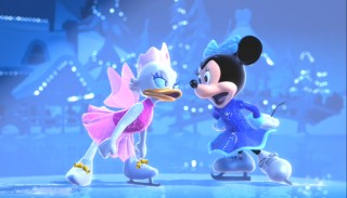Daisy and Minnie engage in some ice-skate fighting.