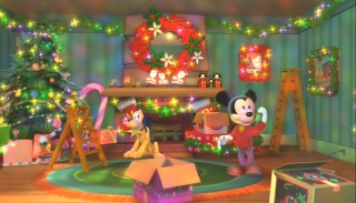 Mickey is really into decorating and lighting up his pad for Christmas.