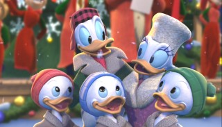 Donald, Daisy and the triplets close in for one of those warm, fuzzy Christmas moments.