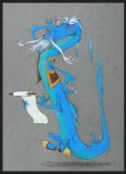 This gallery still shows an early design of a blue Mushu.