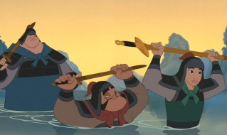Chien-Po, Yao, and 'Ping' (Mulan) get wet in their journeys.