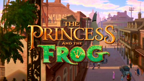 The title logo for The Princess and the Frog appears over a high-angle view of New Orleans streets.