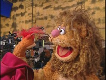 "Fozzie tries out some standup material during his interview in ""Pepe's Making Of."""