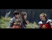 "The young cast members sing ""Check the Gate"" in ""The Bloopers of Narnia."""