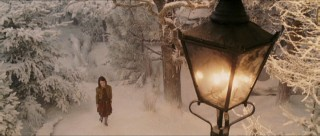 One of the movie's most memorable images: Lucy approaches the lamppost.