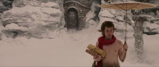 "A faun (James McAvoy, playing Mr. Tumnus) with packages and an umbrella in the snow... This is said to have been the image that inspired C.S. Lewis to write ""The Chronicles of Narnia."""