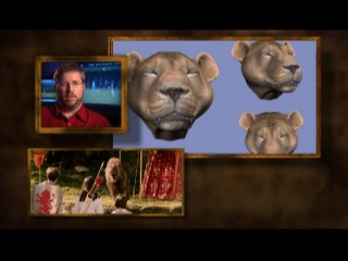 Likewise, Aslan's first appearance provides a split-screen opportunity to talk about how the lion was brought to life via realistic-looking CGI.