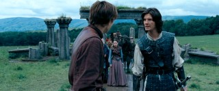 Tempers flare as Peter (William Moseley) and Prince Caspian (Ben Barnes) disagree over their joint leadership.