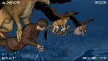 Airborne griffins carrying Pevensies and the Prince are seen in rudimentary previsualization animation.