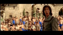 "Ben Barnes makes a goofy face in front of blue-panted centaurs in ""The Bloopers of Narnia"" reel."