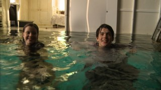 "Georgie Henley and Skandar Keynes make the best of being neck-deep in water in ""Portal to Narnia: A Painting Comes to Life."""