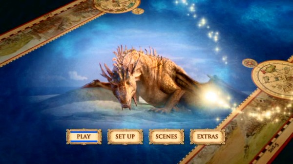 The dragon who helps the crew of the Dawn Treader appears on the DVD's main menu map montage.