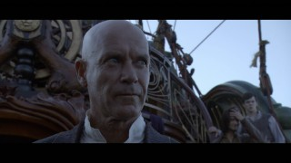 The Dawn Treader's bald captain Drinian (Gary Sweet) stands down a mutiny in this deleted scene.